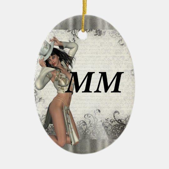 Silver showgirl ceramic ornament
