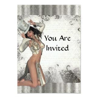 Silver showgirl personalized invites