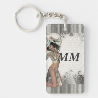 Silver showgirl keychain