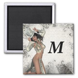 Silver showgirl magnet