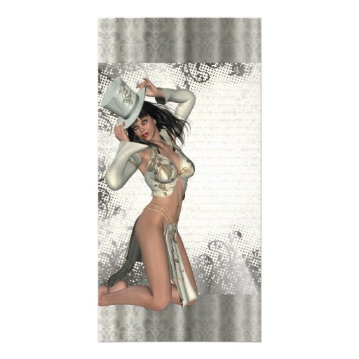 Silver showgirl personalized photo card
