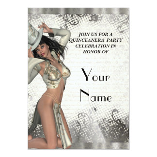 Silver showgirl  quinceanera party 5x7 paper invitation card