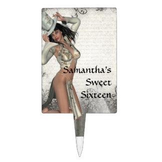 Silver showgirl  sweet sixteen cake pick