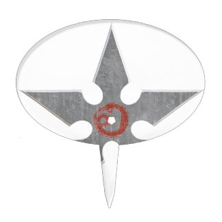 Silver Shuriken with Red Dragon Cake Topper
