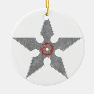 Silver Shuriken with Red Dragon Ceramic Ornament