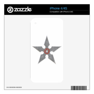 Silver Shuriken with Red Dragon iPhone 4S Skins