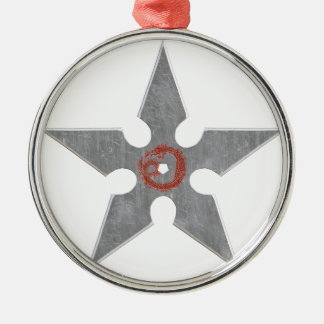 Silver Shuriken with Red Dragon Metal Ornament