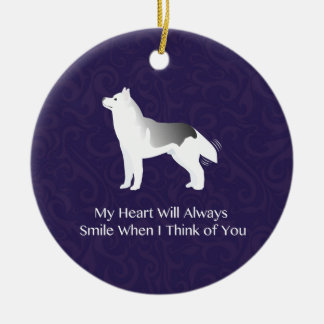 Silver Siberian Husky Dog Thinking of You Ceramic Ornament