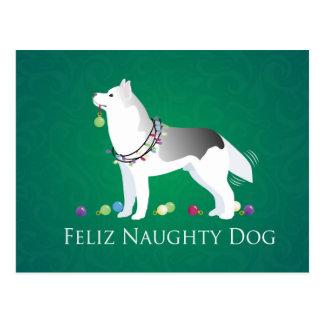 Silver Siberian Husky Feliz Naughty Dog Christmas Postcard