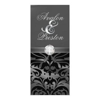 "Silver Silk Diamond Black Damask Wedding Invite 4"" X 9.25"" Invitation Card"