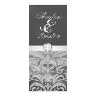 "Silver Silk Diamond Damask Wedding Invitation 4"" X 9.25"" Invitation Card"
