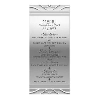 Silver Simple Elegant Chic Wedding Menu Card