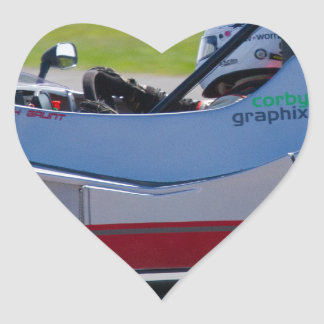 Silver single seater race car heart sticker