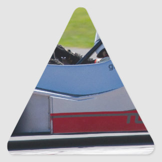 Silver single seater race car triangle sticker