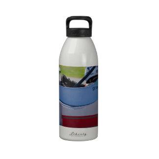 Silver single seater race car reusable water bottle
