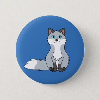 Silver Sitting Fox Kit with Dark Markings Pinback Button