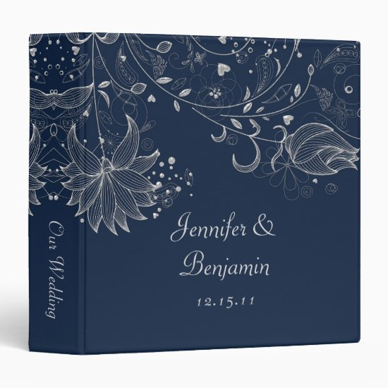 Silver Sketched Flowers on Navy Wedding Album Binder