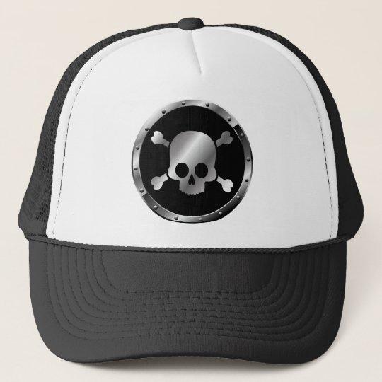 Silver Skulls in Circles of Black Trucker Hat