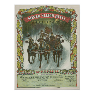 Silver Sleigh Bells Vintage Music Posters