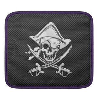 Silver Smiling Pirate on Carbon Fiber Style iPad Sleeve