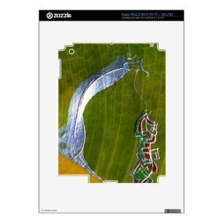 Silver snake & jewels on banana leaf iPad 3 skin
