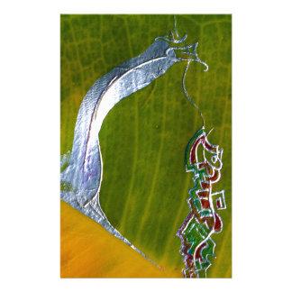 Silver snake & jewels on banana leaf stationery