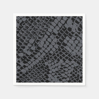 Silver Snake Print Paper Cocktail Napkins