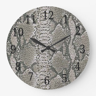 Silver Snake Skin Round Clock