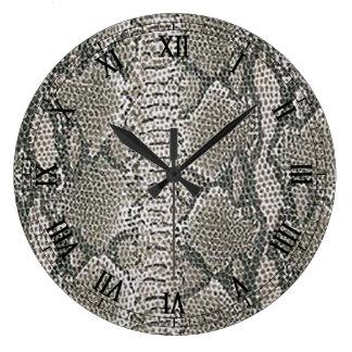 Silver Snake Skin Round Roman Numerals Clock