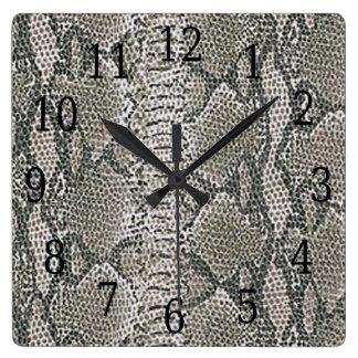 Silver Snake Skin Square Clock
