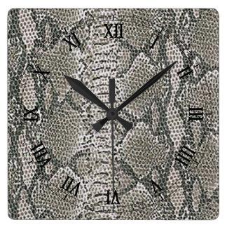Silver Snake Skin Square Roman Numerals Clock