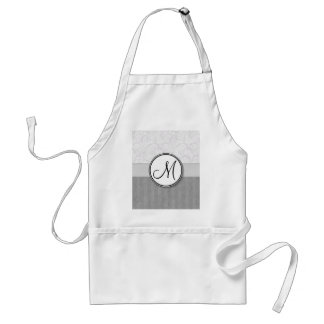 Silver Snow Floral Wisps Stripes with Monogram Aprons
