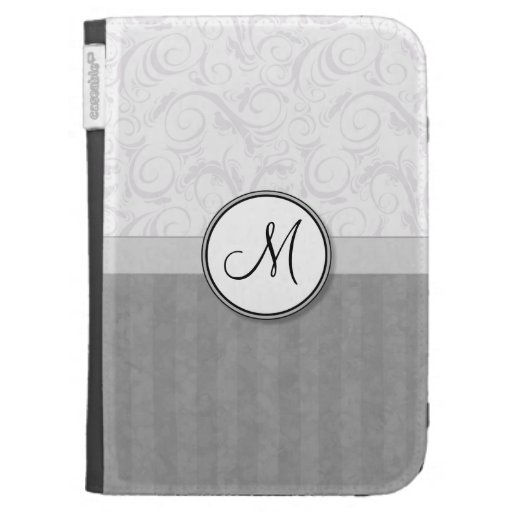 Silver Snow Floral Wisps & Stripes with Monogram Kindle 3 Case