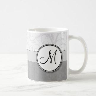 Silver Snow Floral Wisps & Stripes with Monogram Coffee Mug