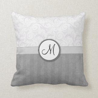 Silver Snow Floral Wisps & Stripes with Monogram Throw Pillows
