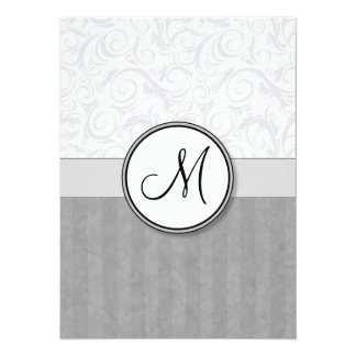 Silver Snow Floral Wisps & Stripes with Monogram Announcement