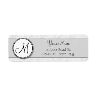 Silver Snow Floral Wisps & Stripes with Monogram Return Address Label