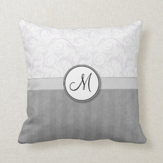 Silver Snow Floral Wisps & Stripes with Monogram Pillow
