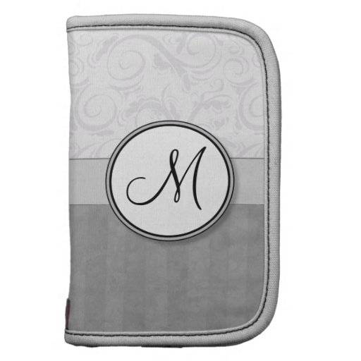 Silver Snow Floral Wisps & Stripes with Monogram Organizers