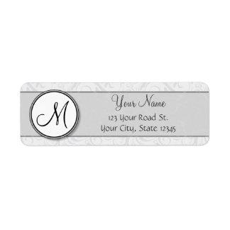 Silver Snow Floral Wisps & Stripes with Monogram Return Address Label