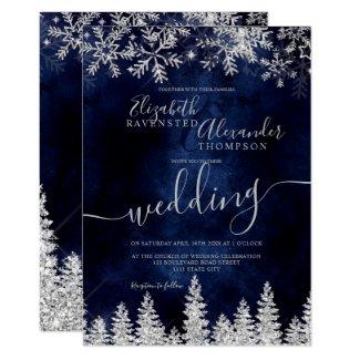 Navy Christmas Winter wedding Invitation with Silver Snow Pine