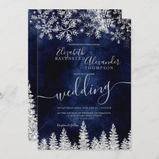 Silver snow pine navy Christmas winter wedding Invitation
