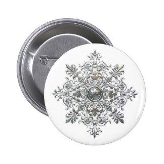 Silver Snowflake 2 Inch Round Button