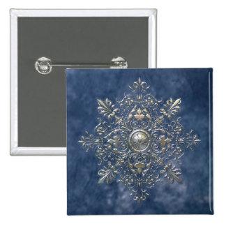 Silver Snowflake 2 Inch Square Button