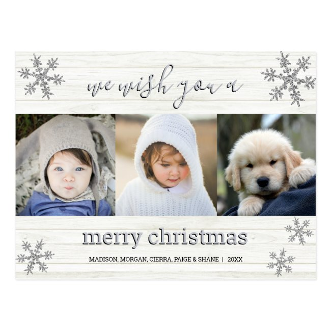 Silver Snowflake 3 Photo Merry Christmas Postcard