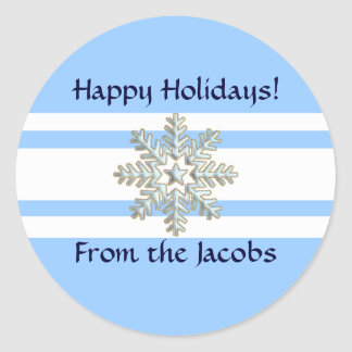 Silver Snowflake and White Lines Holiday Classic Round Sticker