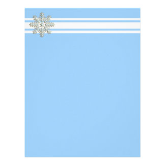 Silver Snowflake and White Lines Holiday Letterhead