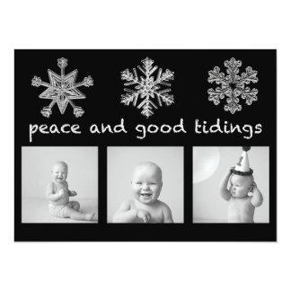 Silver Snowflake Black Three Photo Holiday Card