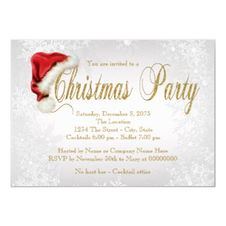 Silver Snowflake Christmas Party Card at Zazzle