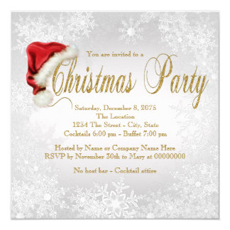 Silver Snowflake Christmas Party Card